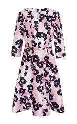 Oscar De La Renta Belted A Line Dress Pink