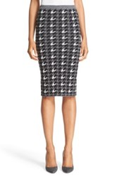 Alice Olivia 'Delphie' Wool Knit Houndstooth Pencil Skirt Multi