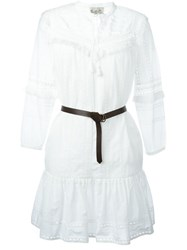 Sea Embroidered Belted Dress White