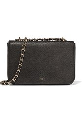 Tory Burch Robinson Perforated Croc Effect Leather Shoulder Bag Black