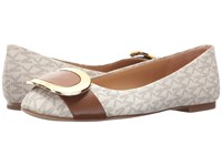 Michael Michael Kors Pauline Ballet Vanilla Luggage Mini Mk Logo Pvc Nappa Women's Flat Shoes White