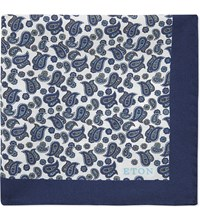Eton Paisley Silk Pocket Square Blue