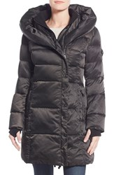 Women's Nanette Lepore Hooded Asymmetrical Zip Down Coat Charcoal