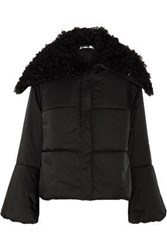 Adeam Lace Up Shearling Trimmed Quilted Shell Coat Black