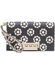 Zac Posen Flower Embellished Clutch Women Calf Leather One Size Black