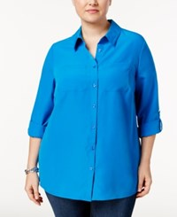 Charter Club Plus Size Roll Tab Blouse Only At Macy's True Cobalt