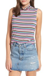 Love Fire Mock Neck Sleeveless Tank Multi Stripe