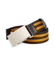 Prada Striped Nylon Belt Ebano Ambra