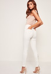 Missguided White Highwaisted Laced Up Skinny Jeans