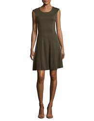 French Connection Botero Ponte Solid A Line Dress Green