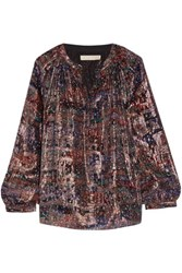 Vanessa Bruno Floral Print Metallic Silk Chiffon Blouse Purple