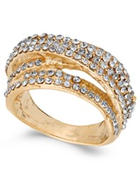 Inc International Concepts Gold Tone Pave Swirl Multi Row Ring Created For Macy's