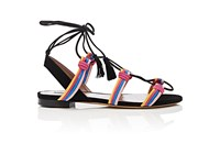 Tabitha Simmons Women's Jax Suede Ankle Tie Sandals Coral Black