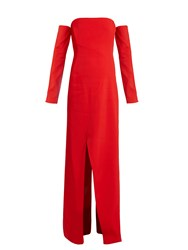 Thierry Mugler Ecorce Off The Shoulder Cady Gown Red