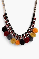 Boohoo Pom Pom Statement Necklace Gold