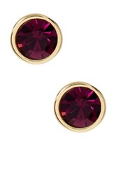 Ariella Collection Crystal Stud Earrings Purple