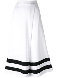 Twin Set Super Wide Cropped Trousers White