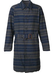 Engineered Garments Striped Trench Coat Grey