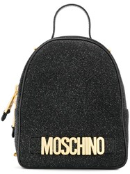 Moschino Small Glitter Backpack Black
