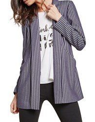 Bcbgeneration Long Sleeve Pinstripe Jacket Blue