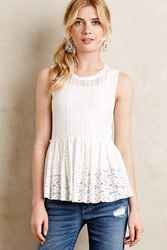 Hazel Flared Lace Top White