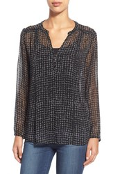 Women's Casual Studio Blouse Black White Checks