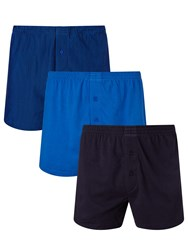 John Lewis Organic Jersey Cotton Double Button Boxers Pack Of 3 Navy