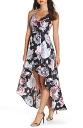 Sequin Hearts Floral Print Shantung High Low Gown Black Blush