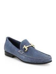 Salvatore Ferragamo Giordano Suede Gold Bit Loafers Tan Light Blue