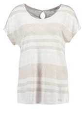 Comma Casual Identity Print Tshirt White Taupe