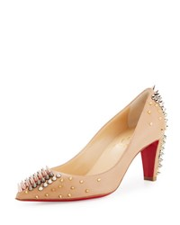 Christian Louboutin Goldopump Spiked Leather Red Sole Pump Nude Multi Metal Nude Multimetal