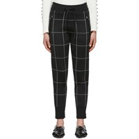 3.1 Phillip Lim Black Window Pane Jogger Lounge Pants