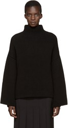 Rosetta Getty Black Cropped Back Turtleneck