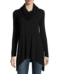 Neiman Marcus Active Sharkbite Hem Cowl Neck Tunic Black