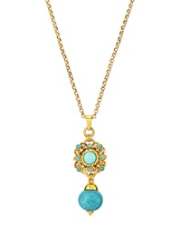 Jose And Maria Barrera Turquoise Pendant Drop Necklace