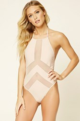 Forever 21 Mesh Paneled Halter One Piece Nude