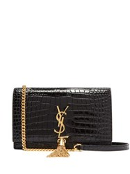 Saint Laurent Kate Crocodile Effect Leather Cross Body Bag Black