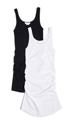 Ingrid And Isabel Maternity Side Shirred Rib Tank 2 Pack Black White