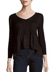 French Connection Solid Rippling Hem Top Black