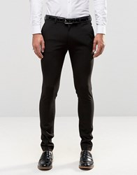 Asos Super Skinny Tuxedo Suit Trousers In Black Black