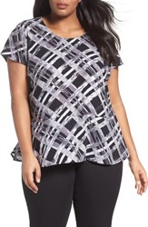 Sejour Plus Size Women's Peplum Tee Black White Plaid Print