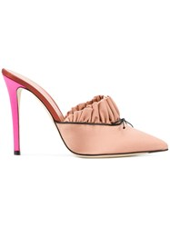 Marco De Vincenzo Ruffled Pointed Toe Mules Nude And Neutrals