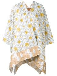 Ermanno Gallamini Embroidered Flowers Poncho Women Cotton Polyester One Size Nude Neutrals