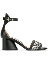 Emporio Armani Perforated Block Heel Sandals Black