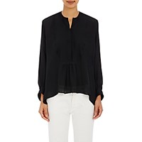 Nili Lotan Women's Tuxedo Blouse Black Blue Black Blue