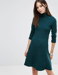 Brave Soul Roll Neck Skater Dress Pine Green