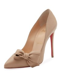 Christian Louboutin Madame Bow Red Sole Pump Beige