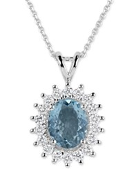 Macy's Aquamarine 2 1 2 Ct. T.W. And Diamond 3 4 Ct. T.W. Oval Pendant Necklace In 14K White Gold Blue
