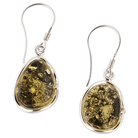 Be Jewelled Sterling Silver Green Amber Hook Earrings
