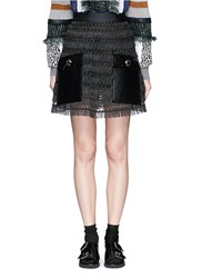 Toga Archives Faux Leather Pocket Linen Fringe Mini Skirt Black